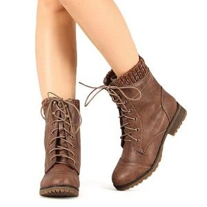Refresh Wynne Sweater Trim Lace Up Boot